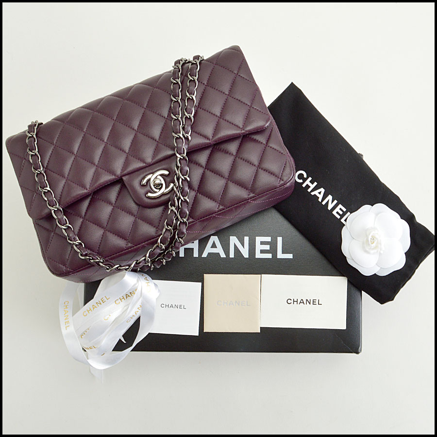 rdc8459 Chanel eggplan 2.55 quilted double flap extras