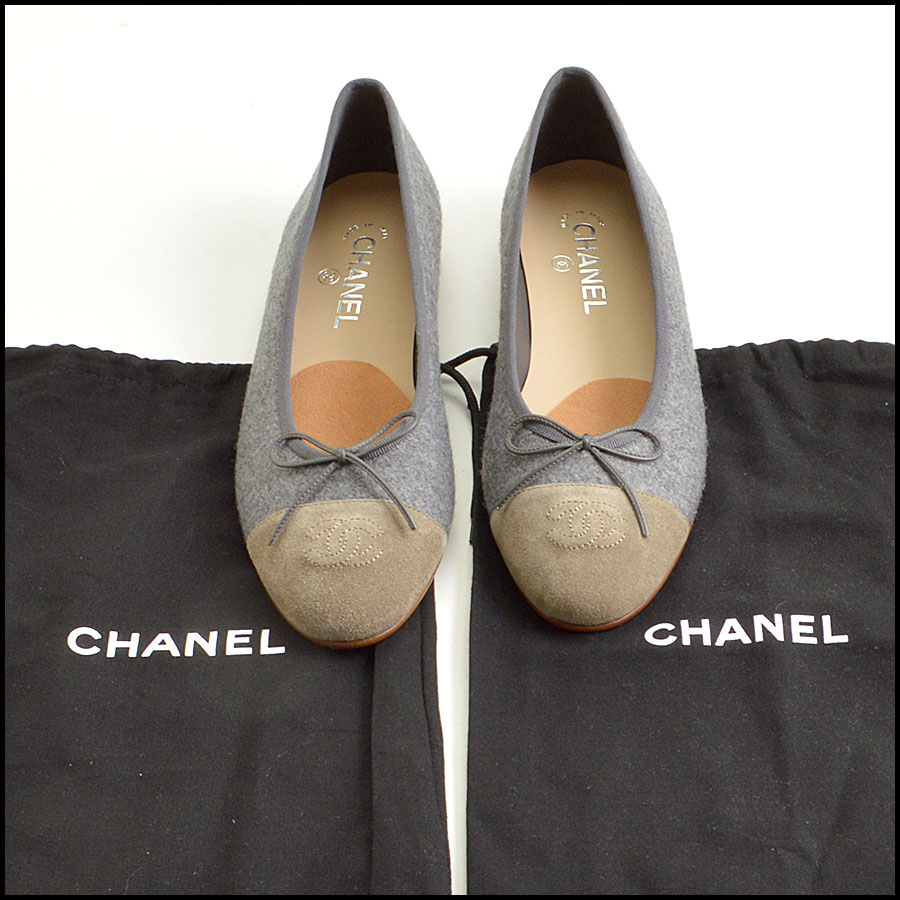 RDC8862 Chanel Flannel ballet flats includes