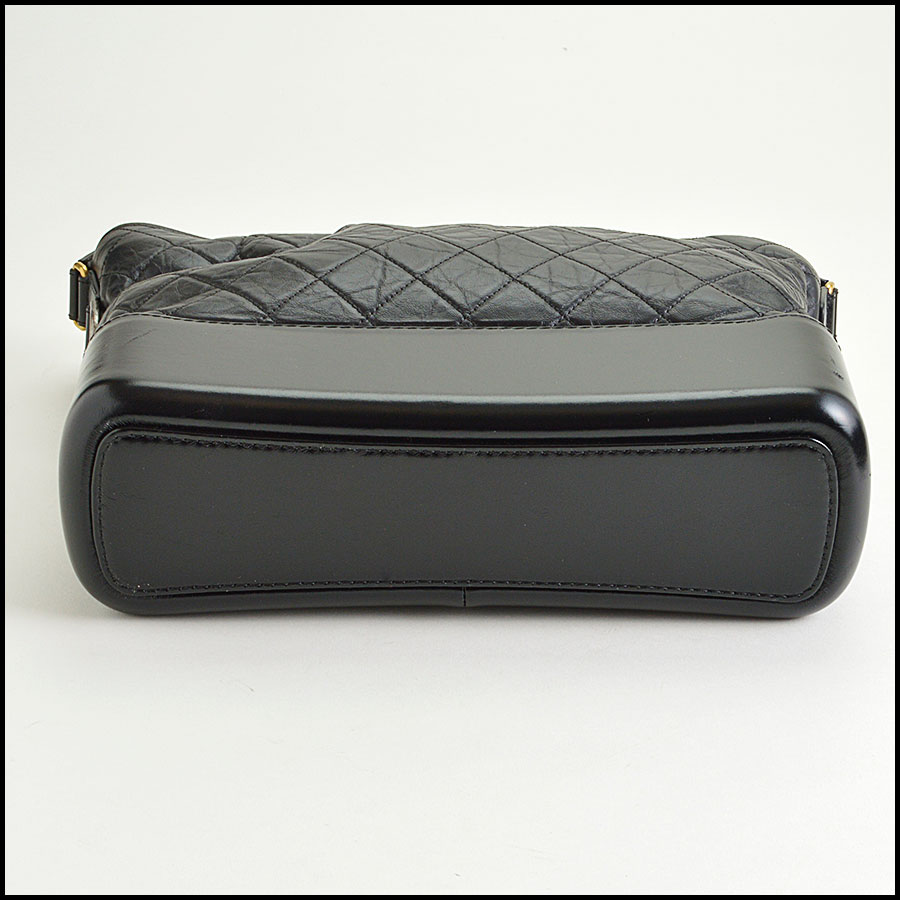 RDC8599 Chanel Black Aged Calfskin Gabrielle Bag bottom