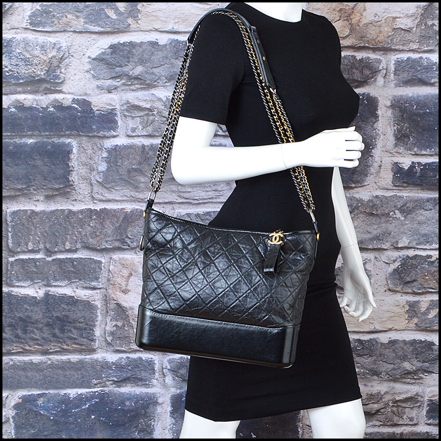 RDC8599 Chanel Black Aged Calfskin Gabrielle Bag model