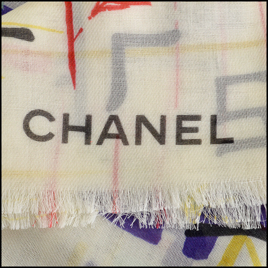 RDC8021 Chanel Green Multicolor brush strokes shawl logo