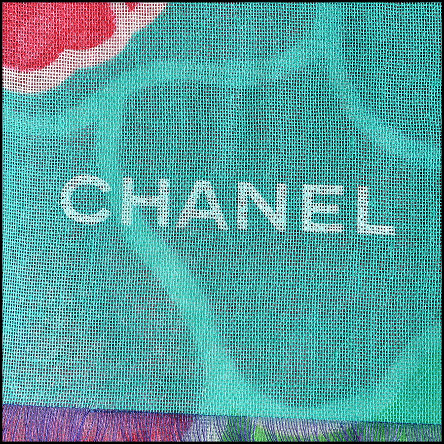 Chanel Green Floral Long Scarf logo