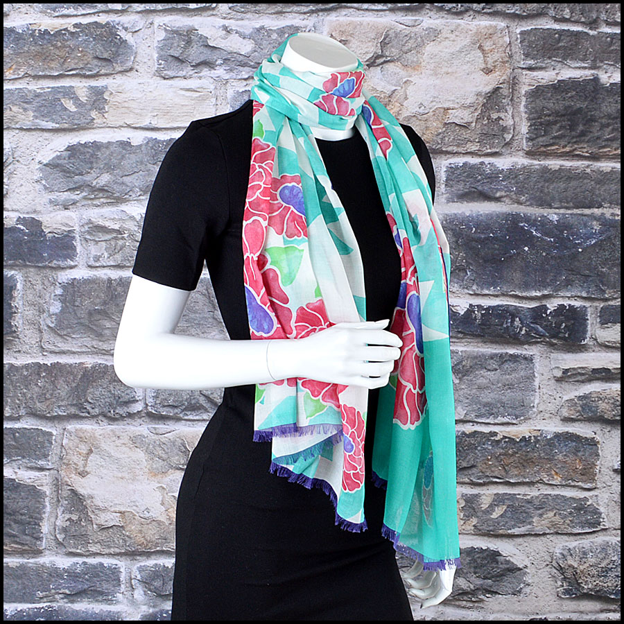 Chanel Green Floral Long Scarf mannequin
