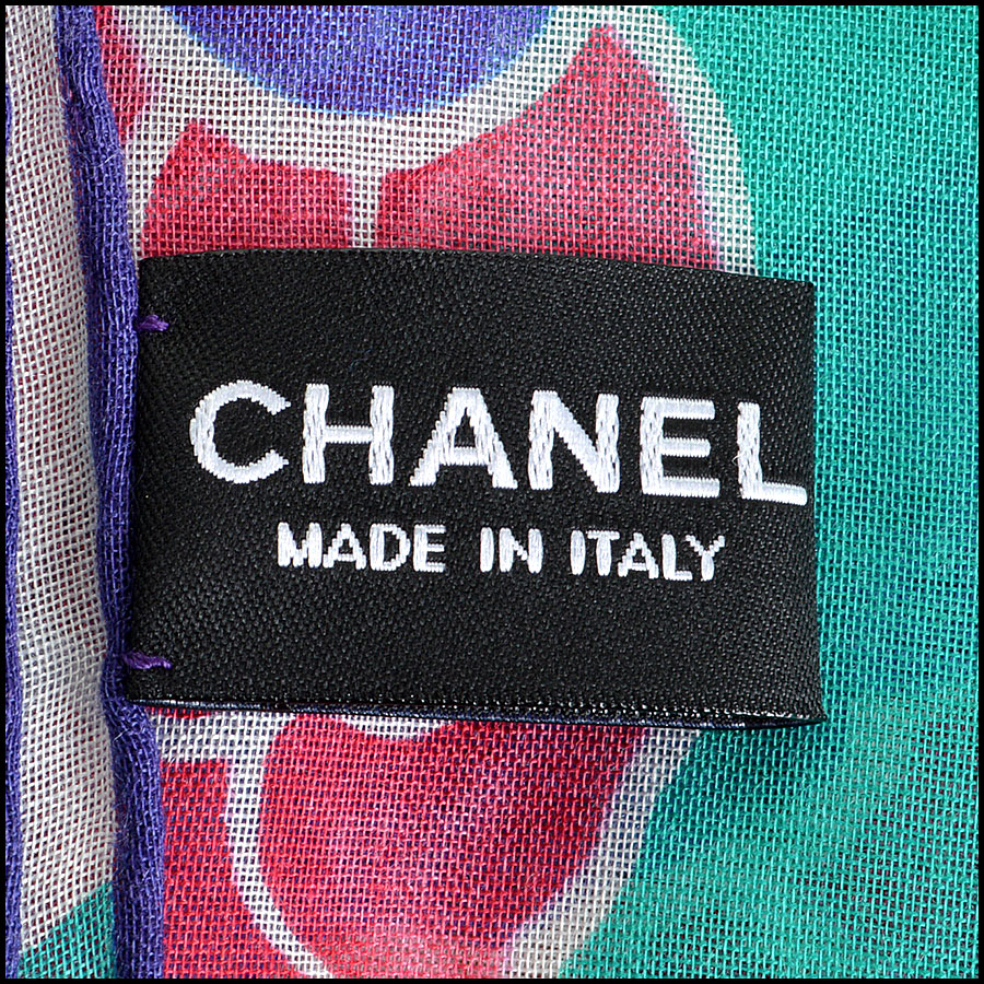 Chanel Green Floral Long Scarf tag