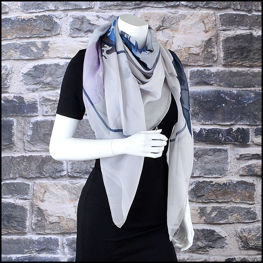 Chanel Grey and Blue Earth GM Shawl Scarf Mannequin