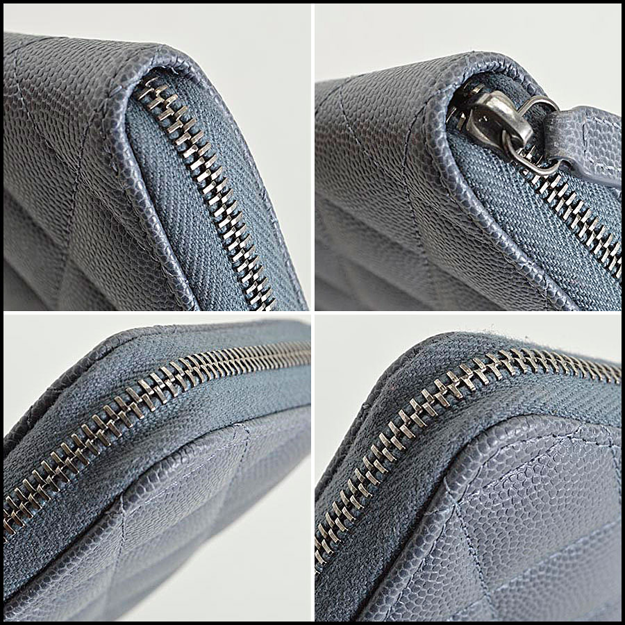 RDC8167 Chanel Grey Caviar Leather Small Zip Wallet corners