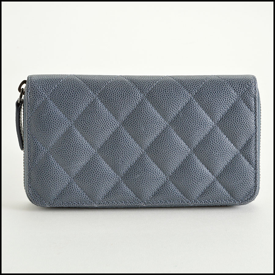 RDC8167 Chanel Grey Caviar Leather Small Zip Wallet back