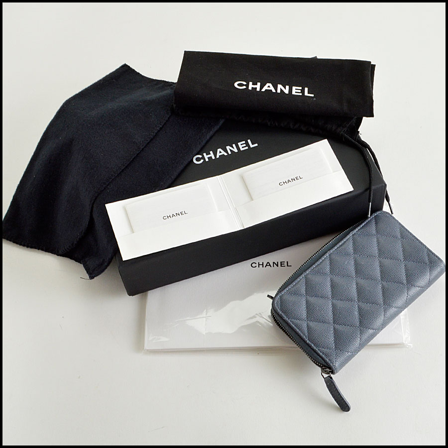 RDC8167 Chanel Grey Caviar Leather Small Zip Wallet extras