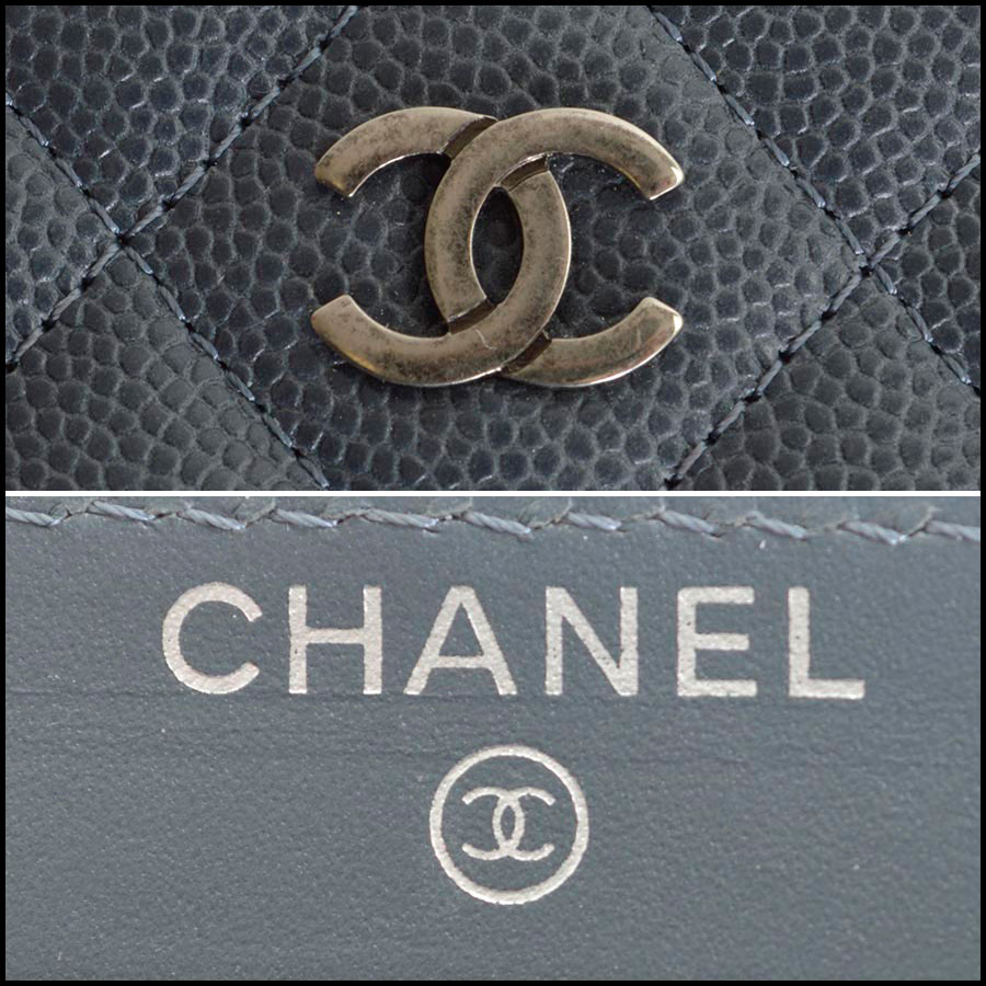 RDC8167 Chanel Grey Caviar Leather Small Zip Wallet tag one