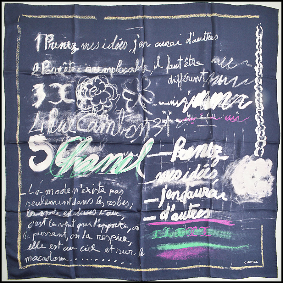 RDC8802 Chanel Navy Handwritten ideas scarf