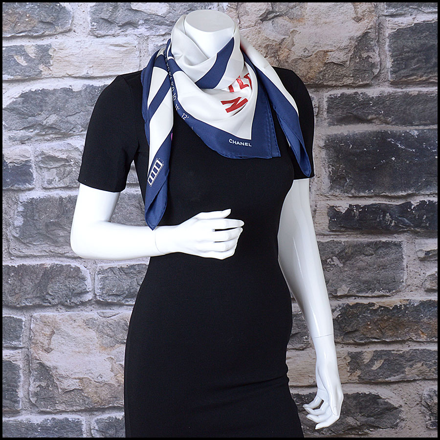 RDC9748 Chanel Autumn '16 Navy & Ivory Teatro No.5 90cm Silk Scarf  model