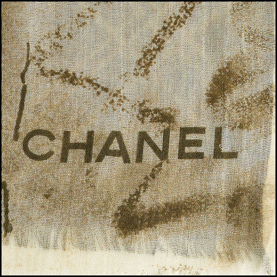 Chanel Khaki and Cream Tartan Cashmere blend Long Scarf logo