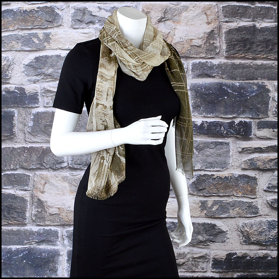 Chanel Khaki and Cream Tartan Cashmere blend Long Scarf mannequin