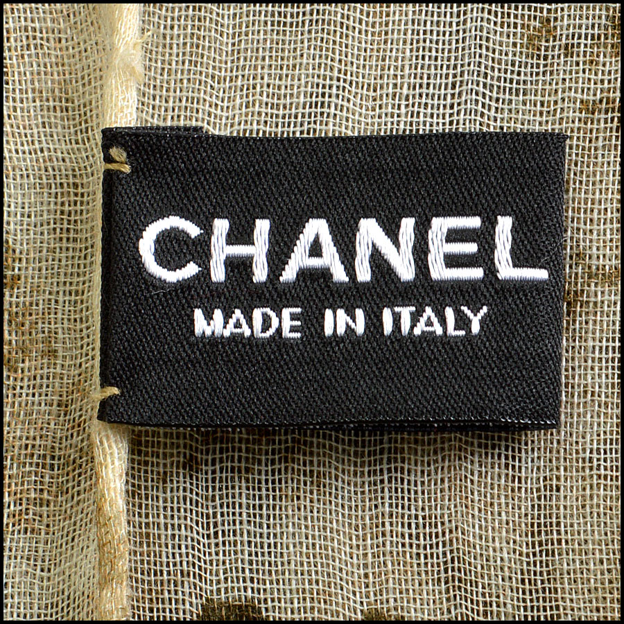 Chanel Khaki and Cream Tartan Cashmere blend Long Scarf tag