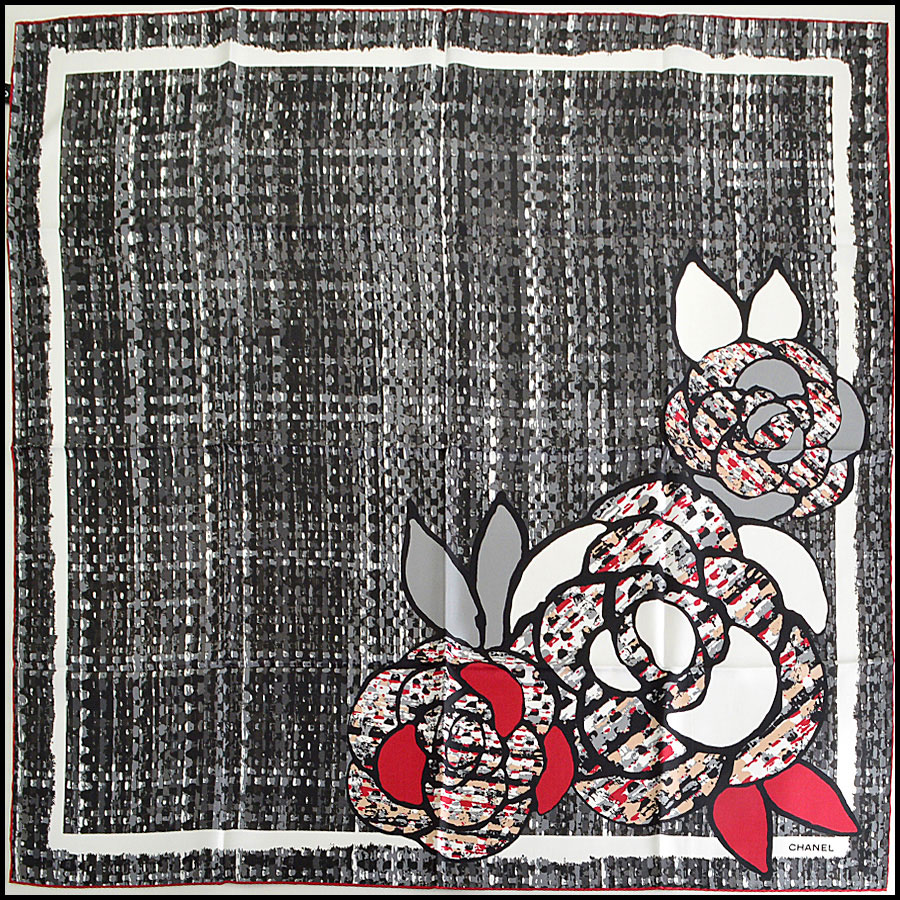 Chanel Tweed Camellia Silk Scarf Authentic