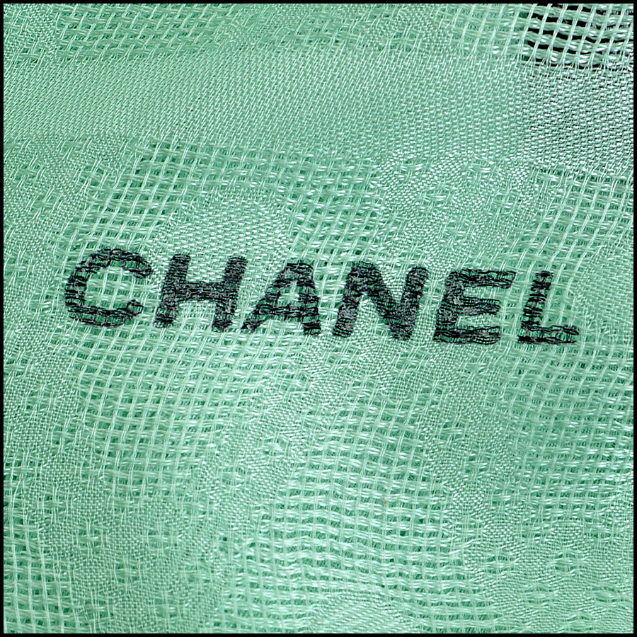 Chanel Tweed Silk Chiffon Scarf Logo