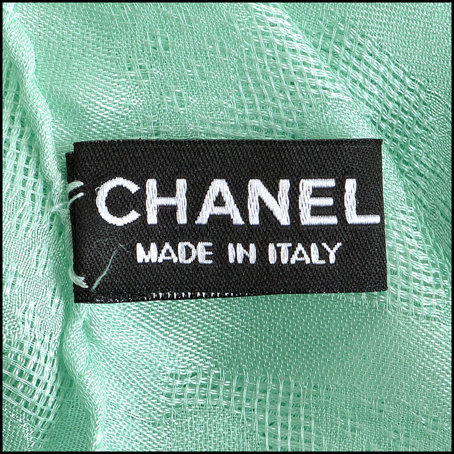 Chanel Tweed Silk Chiffon Scarf Branding