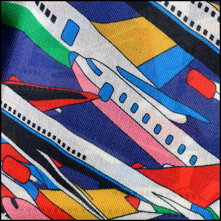 RDC8007 Chanel Blue/Multi Air Traffic and logo shawl close up