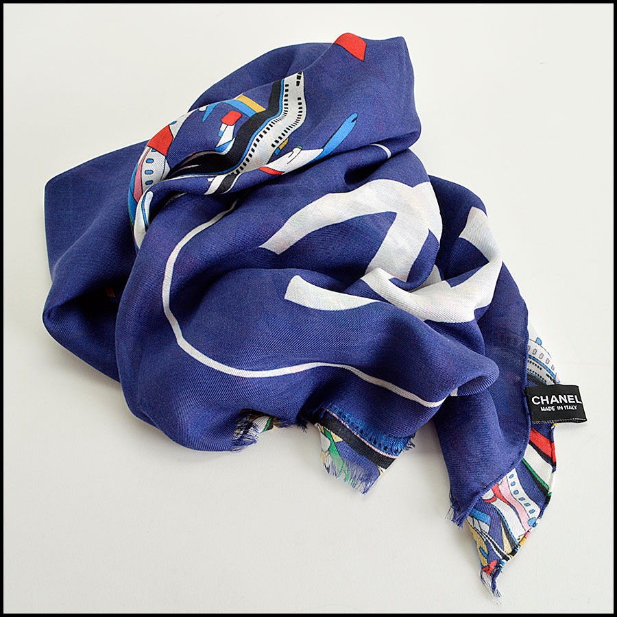 RDC8007 Chanel Blue/Multi Air Traffic and logo shawl fold