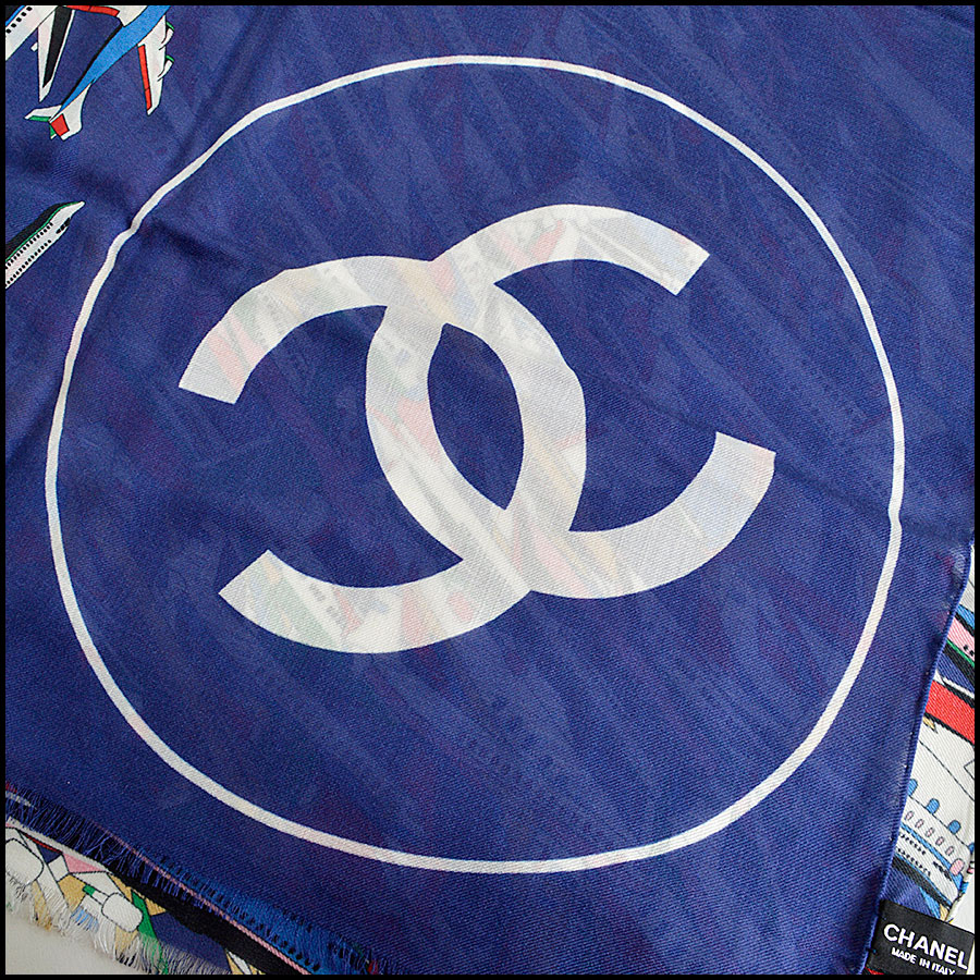 RDC8007 Chanel Blue/Multi Air Traffic and logo shawl logo