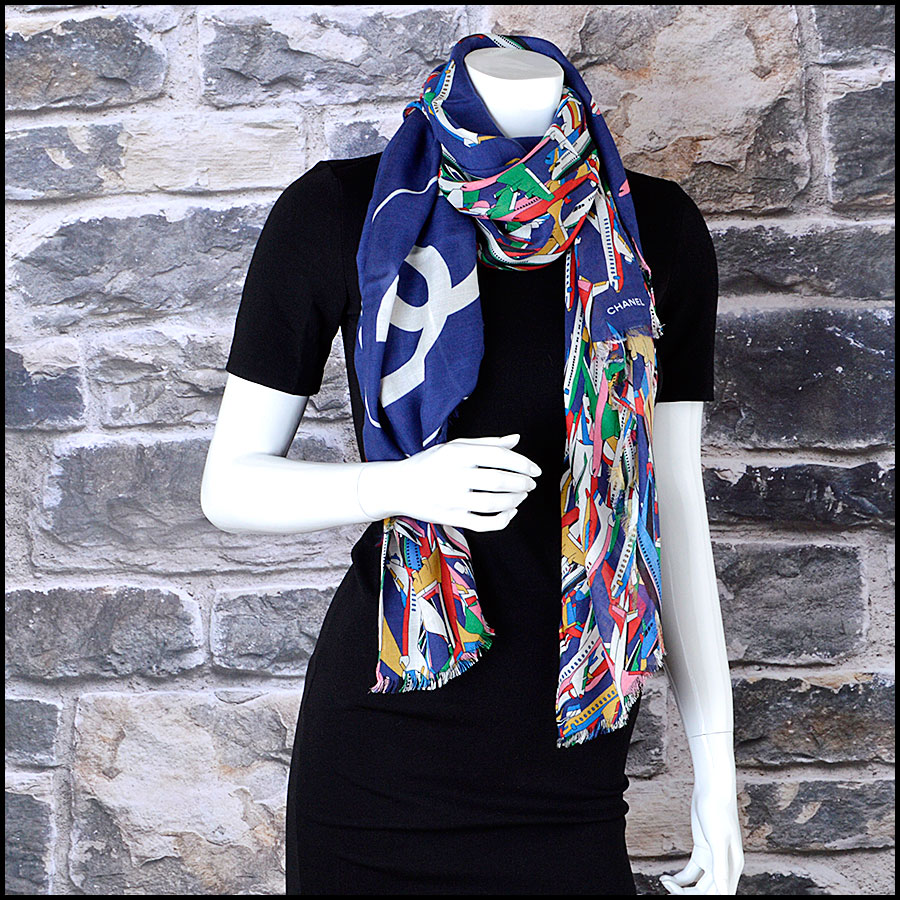 RDC8007 Chanel Blue/Multi Air Traffic and logo shawl model
