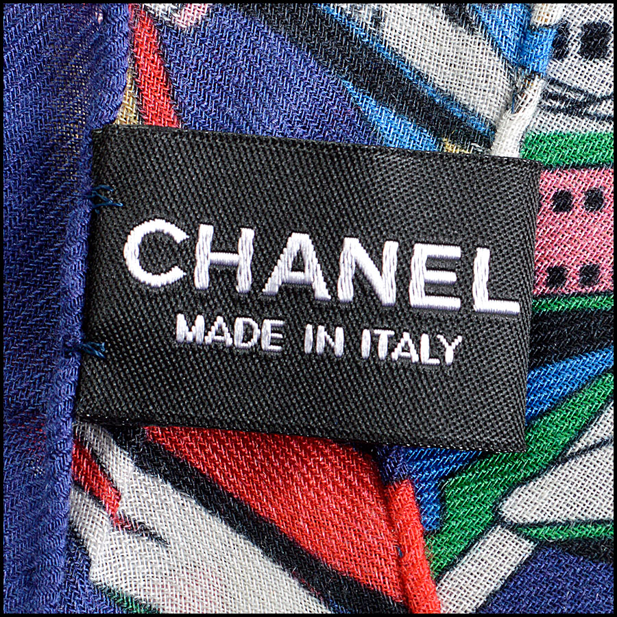 RDC8007 Chanel Blue/Multi Air Traffic and logo shawl tag 2