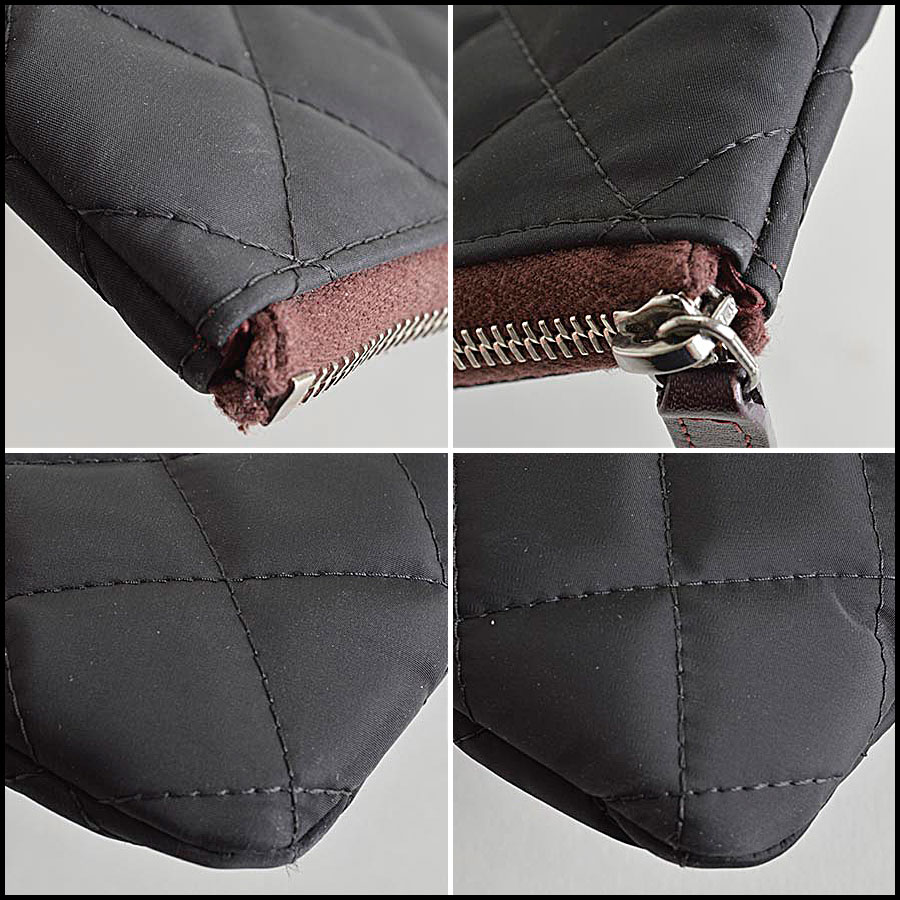 RDC8160 Chanel Black Quilted Nylon 'O' Case corners