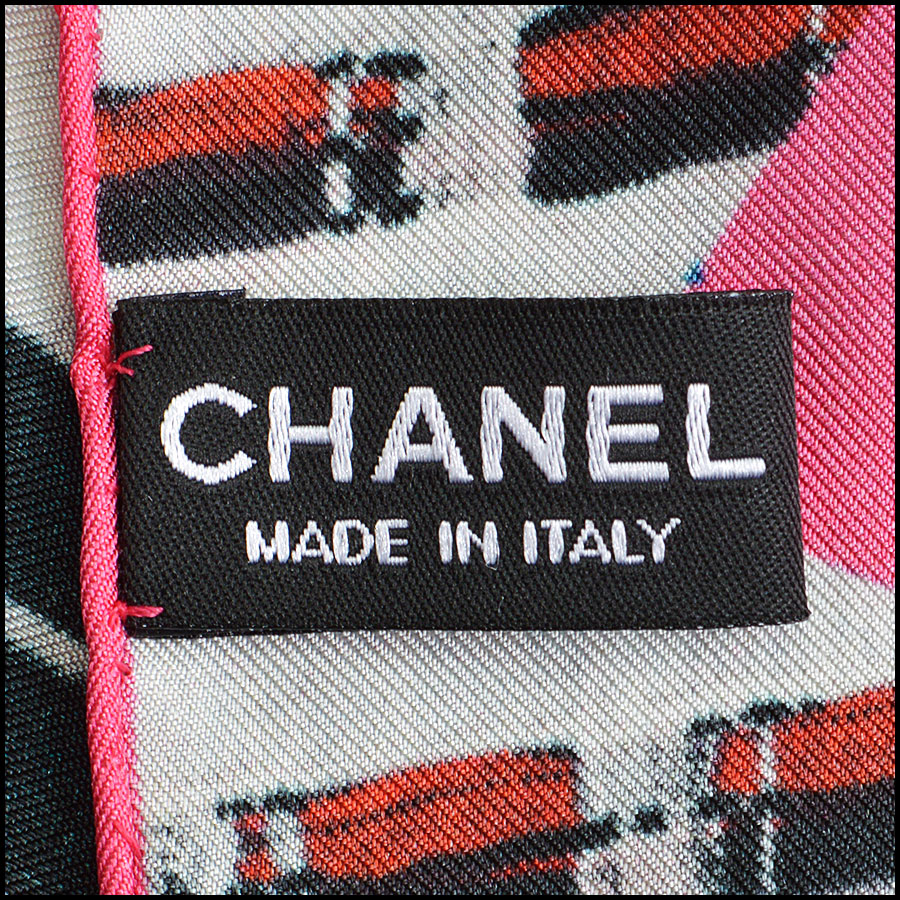 RDC8769 Chanel Red Pink Photo Tweed Scarf tag 2