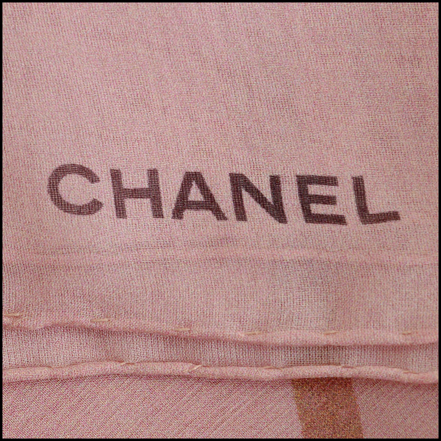 Chanel Grey and Blue Earth GM Shawl Scarf Logo