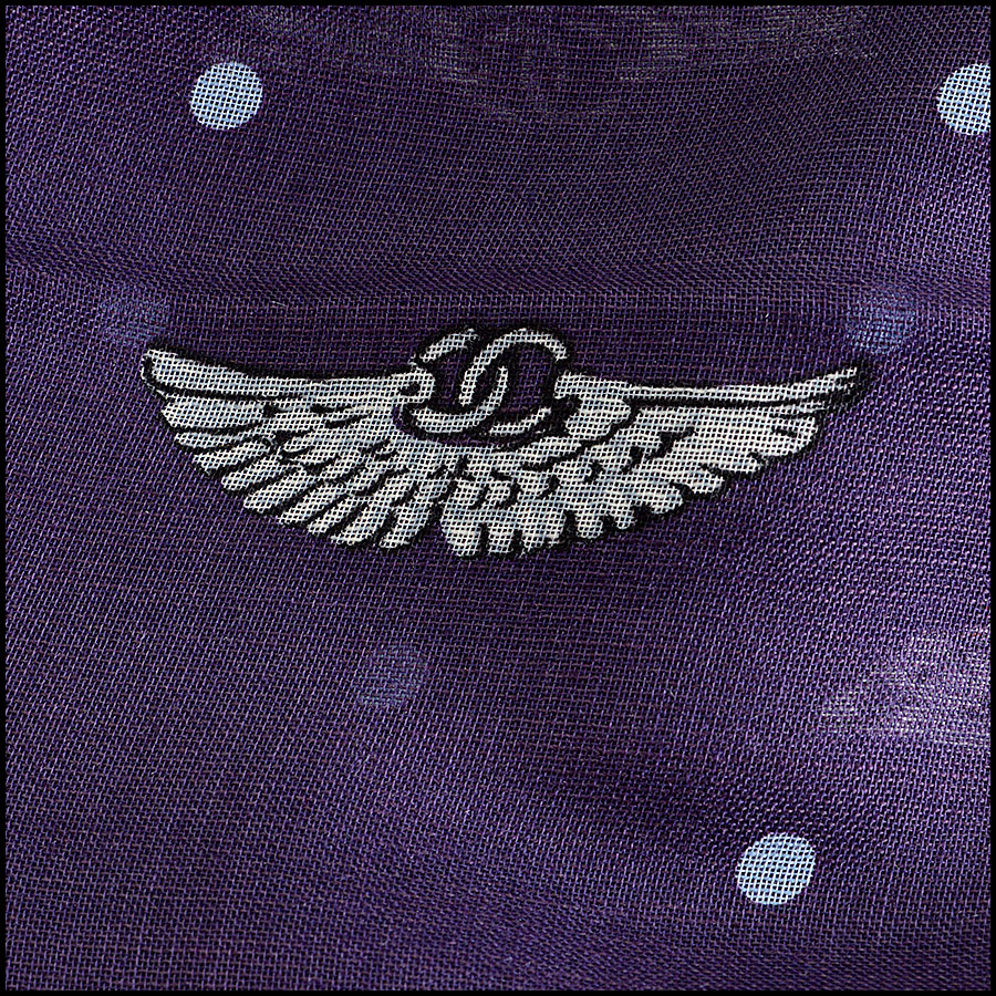 RDC8018 Chanel Plum and White Polka Dots wing pin shawl close up