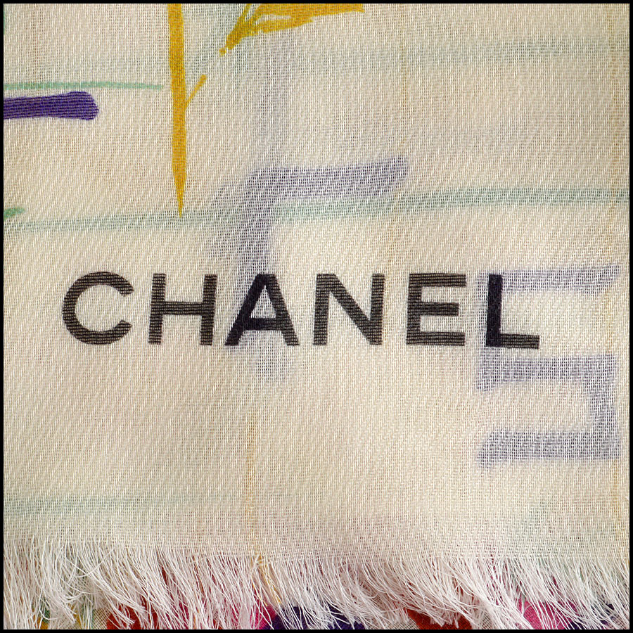 RDC8019 Chanel cream/red brush strokes shawl logo