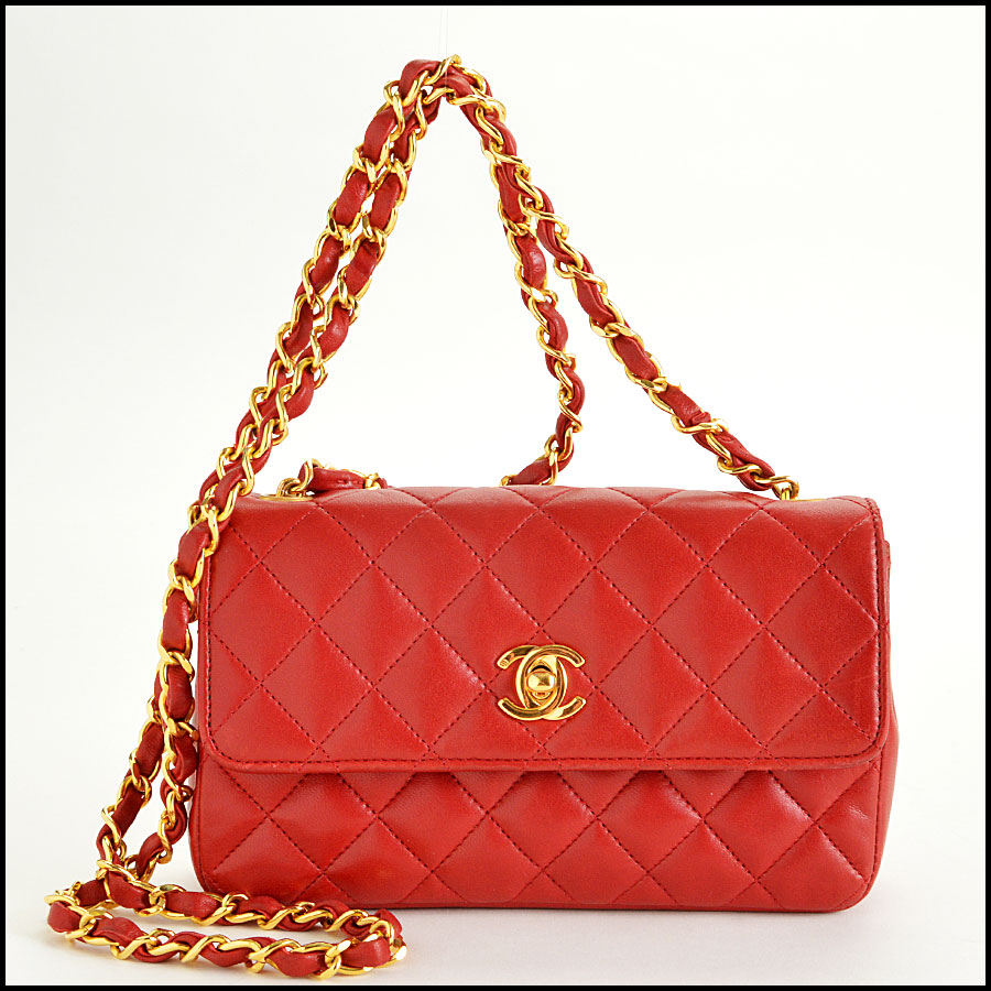 RDC7896 Chanel Vintage red quilted classic handbag