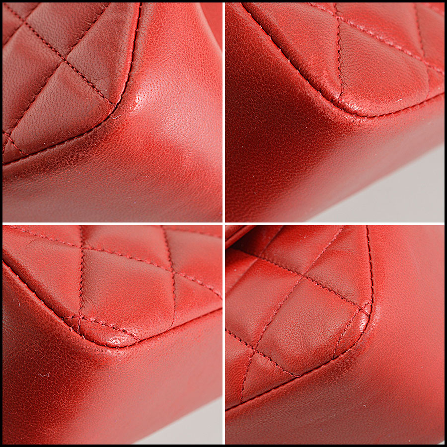 RDC7896 Chanel Vintage red quilted classic handbag corners