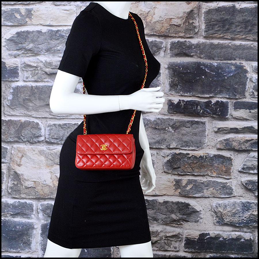 RDC7896 Chanel Vintage red quilted classic handbag model