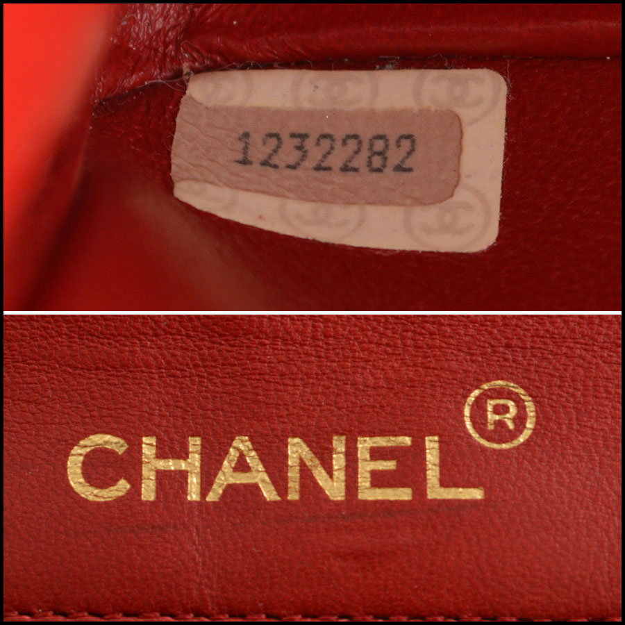 RDC7896 Chanel Vintage red quilted classic handbag tag one