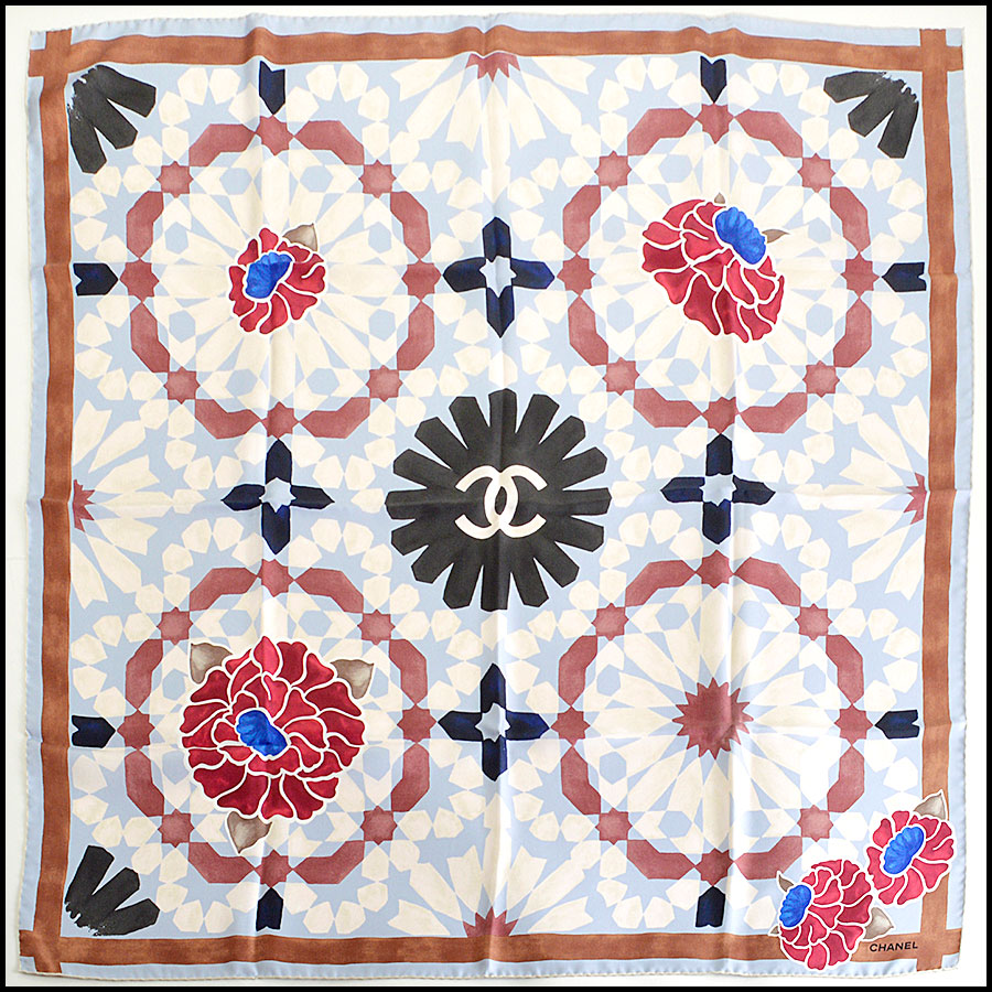 RDC7965 Chanel blue&brown Kaleidoscope scarf