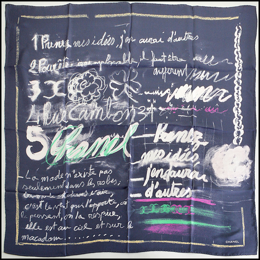 RDC7968 Chanel navy/white Handwritten Ideas scarf