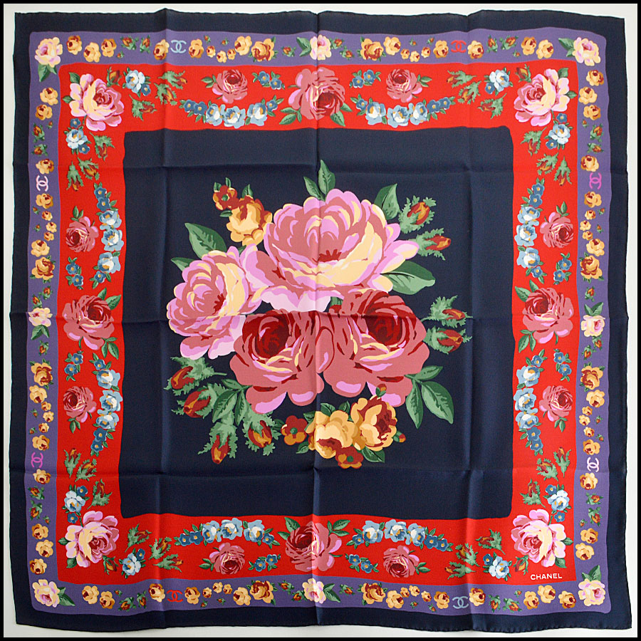 RDC7970 Chanel tri color double border floral scarf