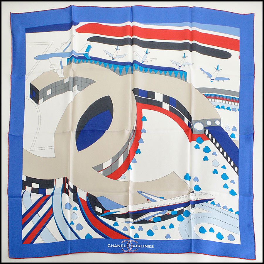 RDC7979 Chanel red/white/blue airlines scarf