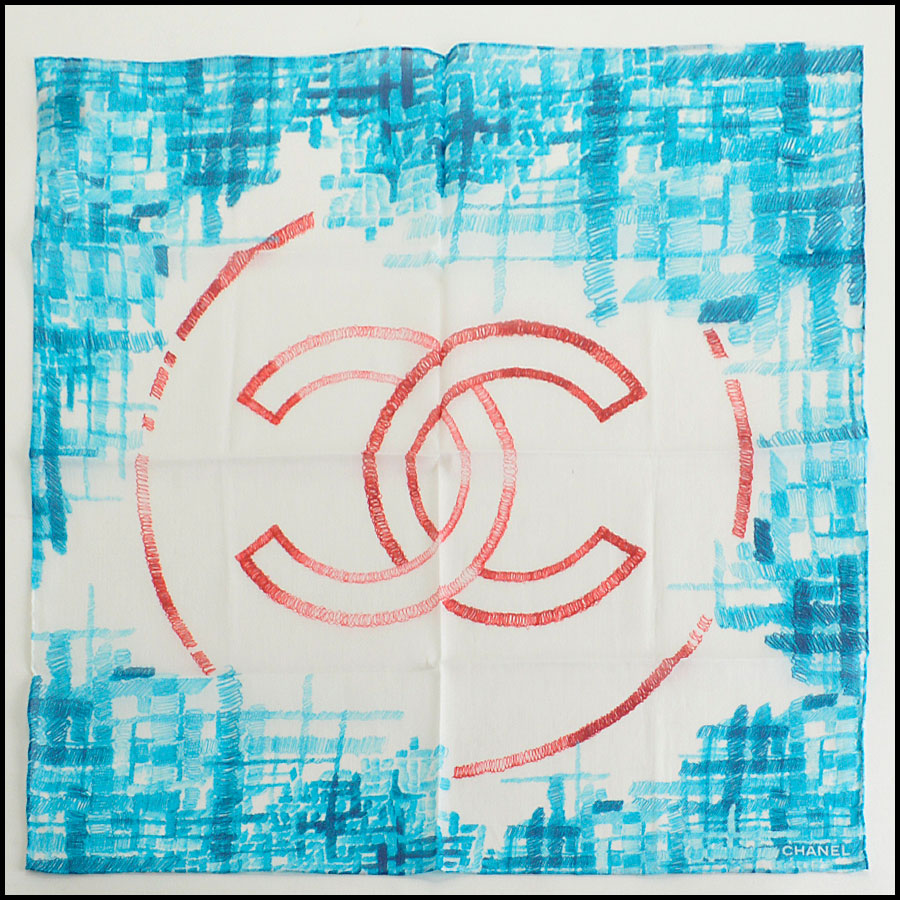 RDC7987 Chanel Bright Blue and Red tweed CC logo scarf