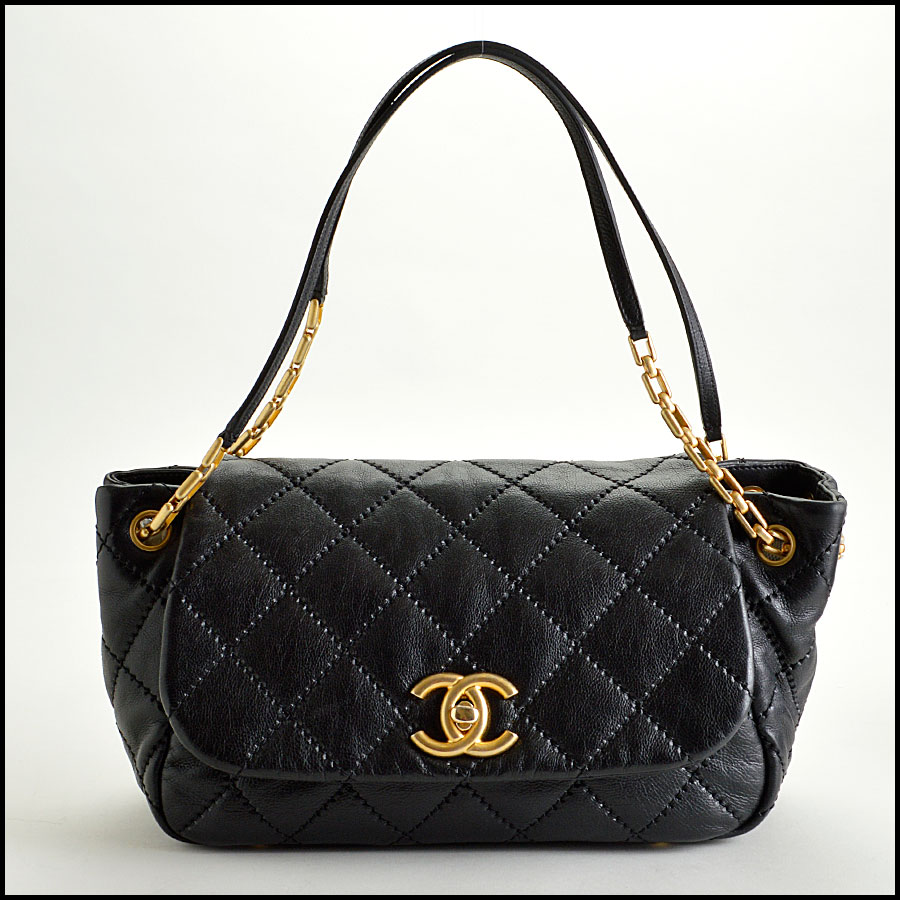 RDC7920 Chanel Black Leather Retro Chain Quilted Shoulder bag