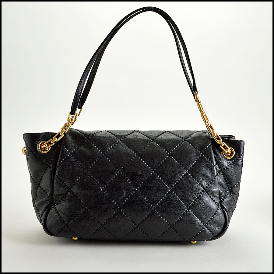 RDC7920 Chanel Black Leather Retro Chain Quilted Shoulder bag back