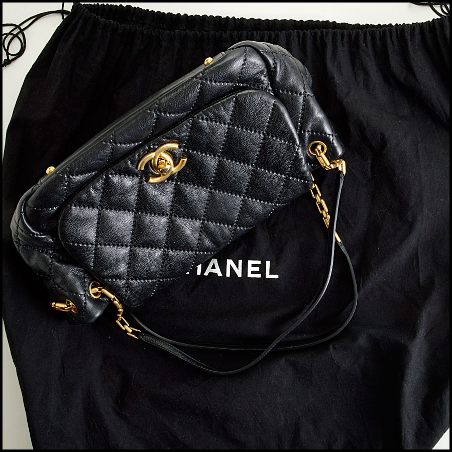 RDC7920 Chanel Black Leather Retro Chain Quilted Shoulder bag tag one