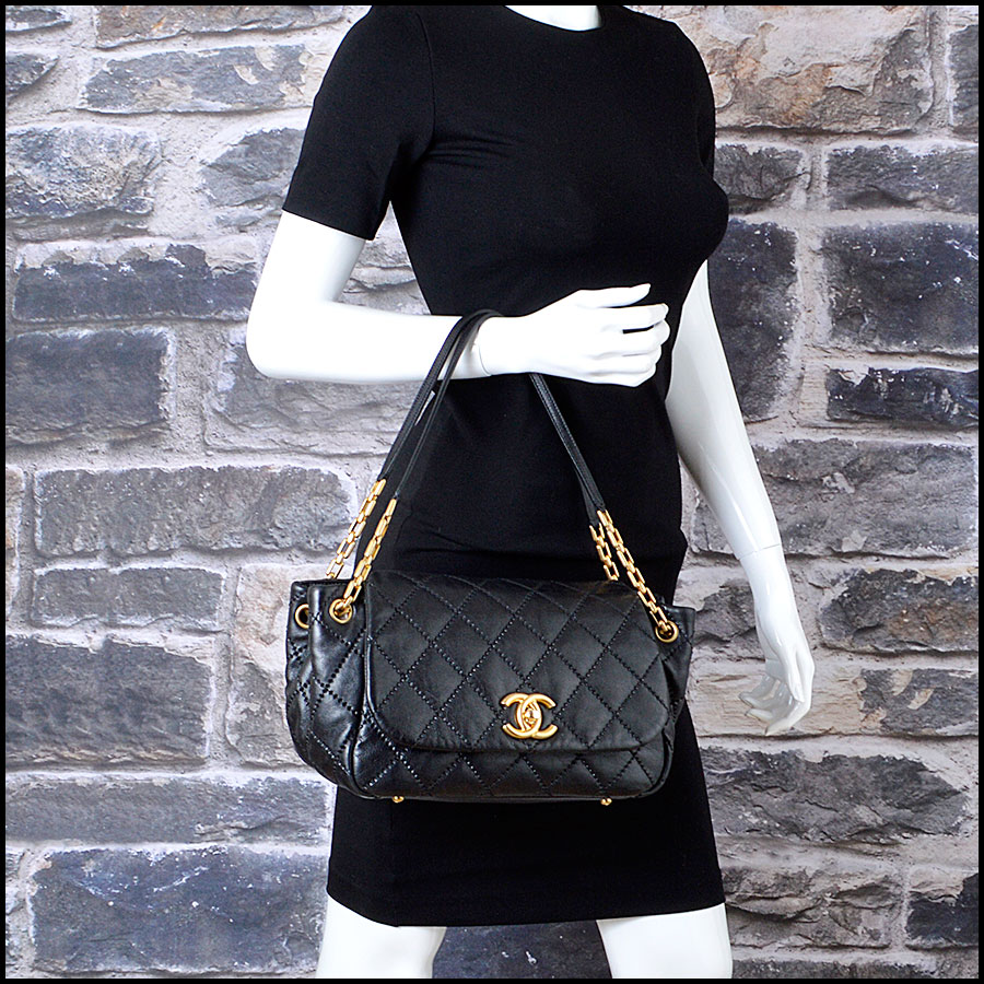 RDC7920 Chanel Black Leather Retro Chain Quilted Shoulder bag man