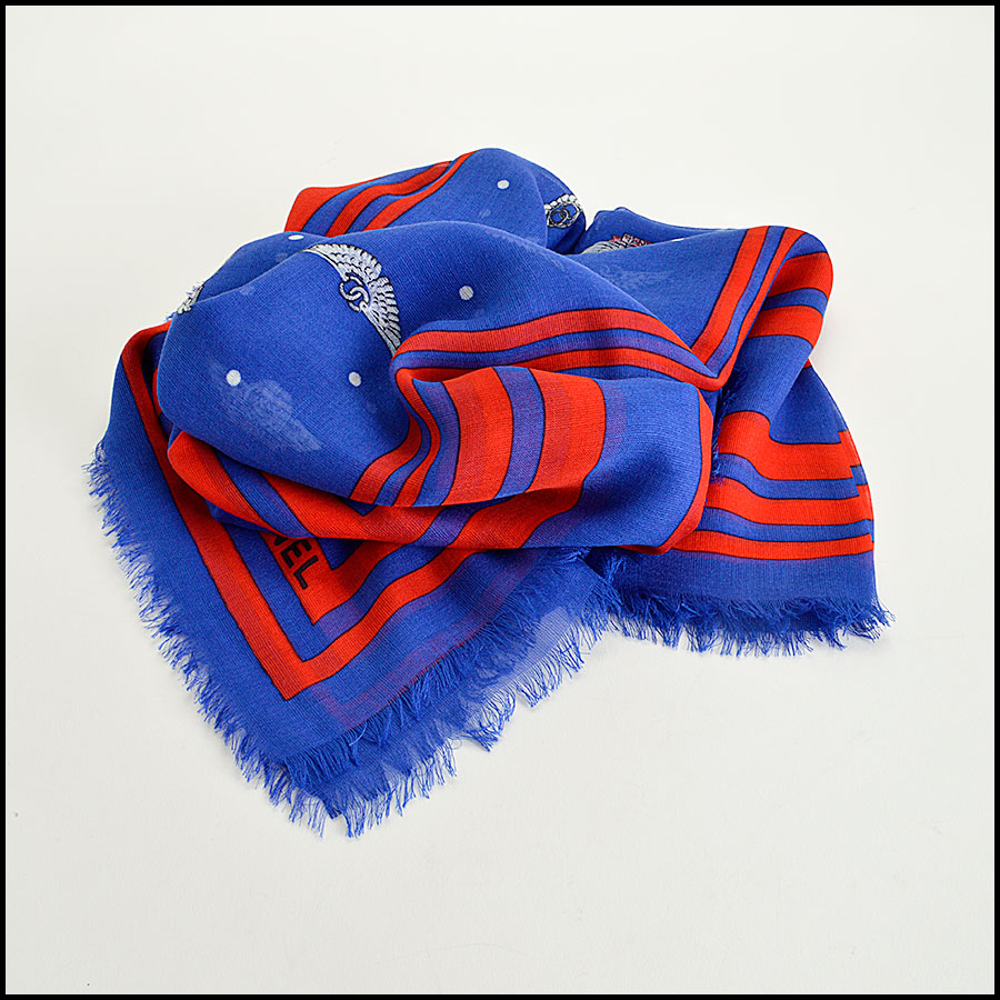 RDC8017 Chanel Royal Blue and Red Polka Dots wing pin shawl fold