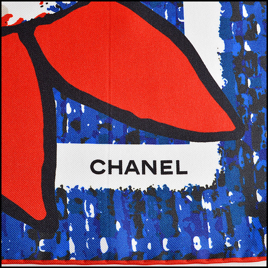 RDC7790 chanel red white blue tweed scarf logo