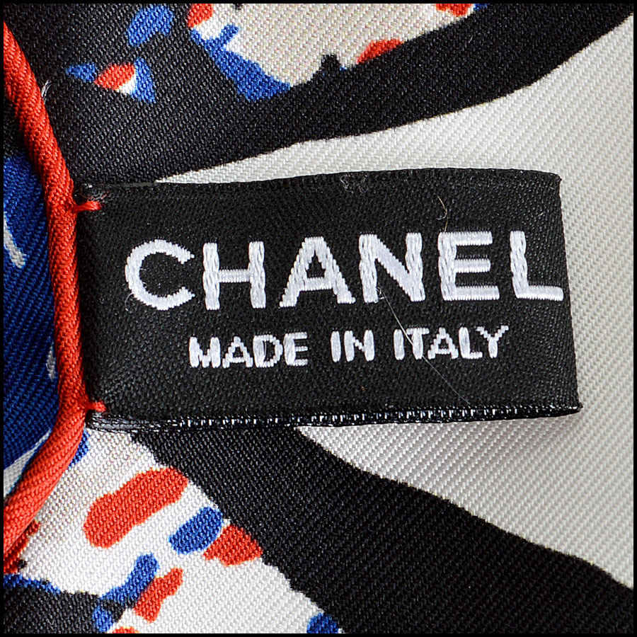 RDC7790 chanel red white blue tweed scarf tag 3