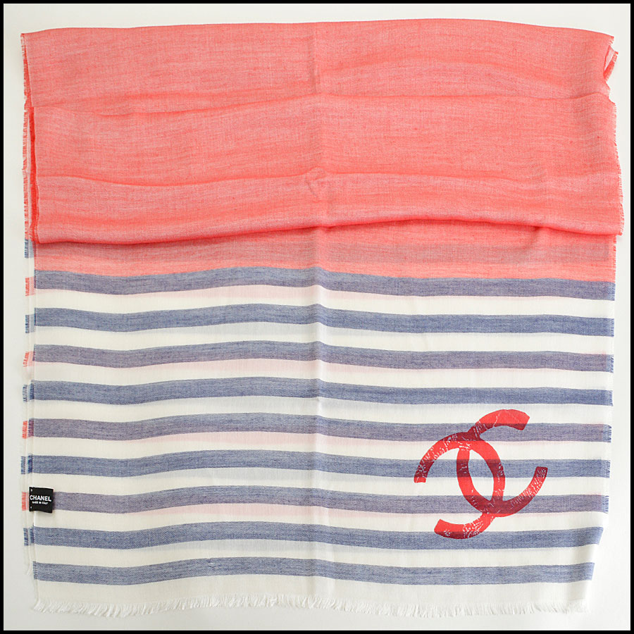 RDC8013 Chanel White, Blue/ Red stamp CC Logo scarf
