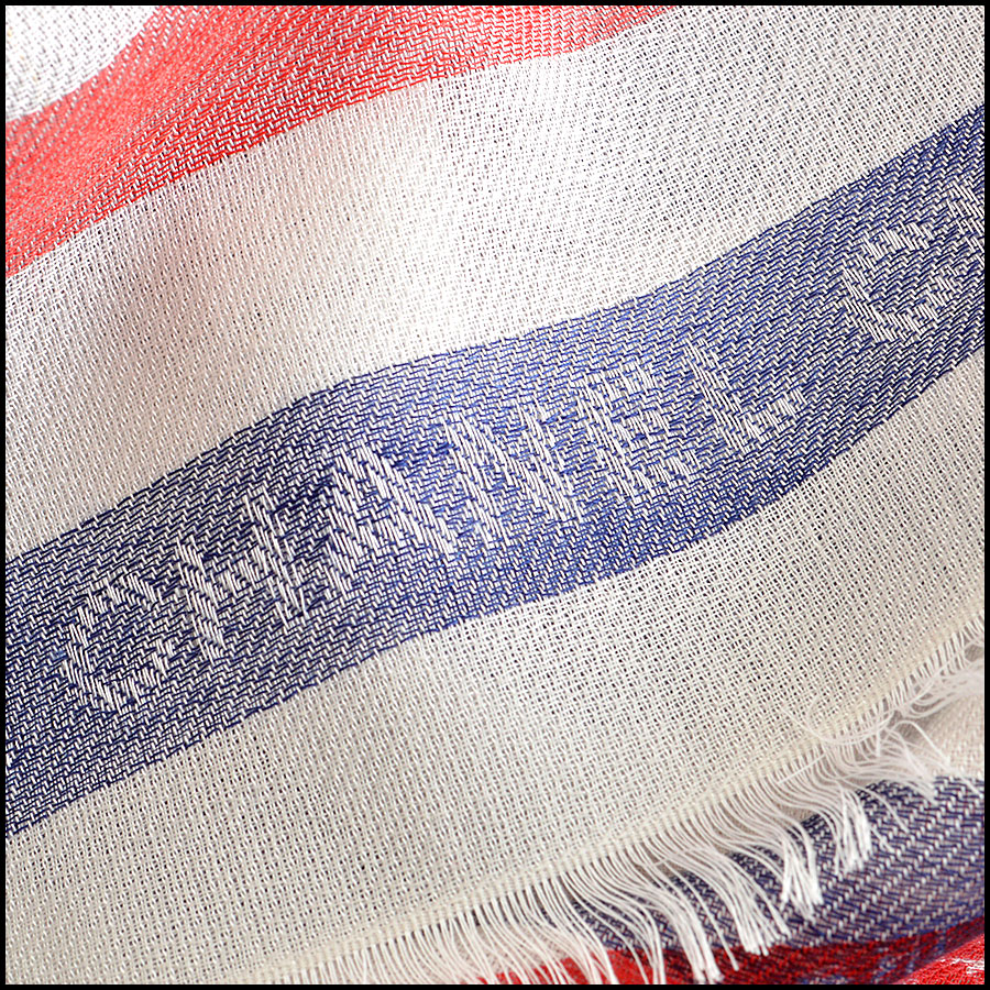 RDC8013 Chanel White, Blue/ Red stamp CC Logo scarf close up 2