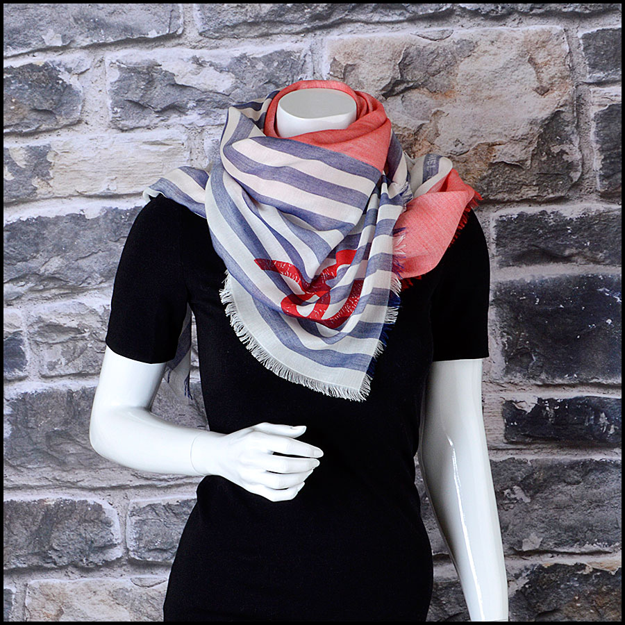 RDC8013 Chanel White, Blue/ Red stamp CC Logo scarf model